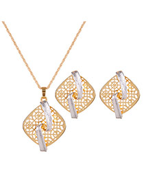 Fashion Gold Color Square Shape Pendant Decorated Long Chain Jewelry Sets