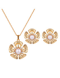 Fashion Gold Color+white Flower Shape Pendant Decorated Simple Jewelry Sets