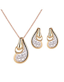 Elegant Gold Color+silver Color Ear Shape Pendant Decorated Simple Jewelry Sets