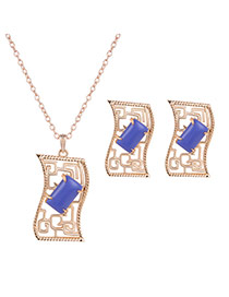 Elegant Gold Color+blue Square Shape Gemstone Decorated Hollow Out Jewelry Sets