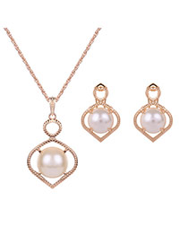 Elegant Gold Color+white Round Shape Decorated Simple Hollow Out Jewelry Sets
