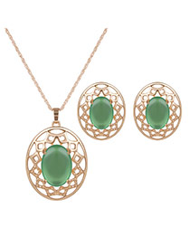 Elegant Gold Color+green Hollow Out Pendant Decorated Long Chain Jewelry Sets