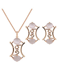 Fashion Gold+white Hollow Out Pendant Decorated Long Chain Jewelry Sets