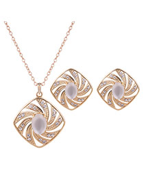 Fashion Gold Color+white Diamond Shape Decorated Simple Long Chain Jewelry Sets