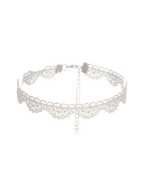 Vintage White Pure Color Decorated Hollow Out Choker
