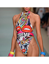Sexy Multi-color Scrawl Pattern Decorated One-piece Bikini