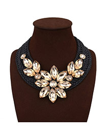 Exaggerated Yellow Crystal Flower Shape Decorated Hand-woven Chain Necklace