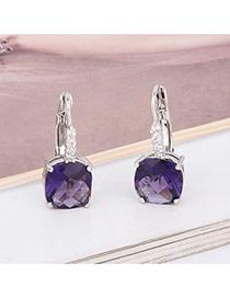 Exquisite Purple Square Diamond Decorated Simple Earring