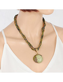 Exquisite Green Gemstone Pendant Decorated Hand-woven Chain Necklace