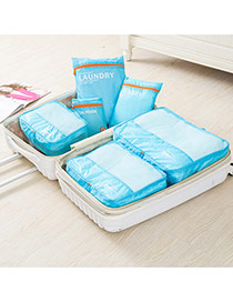 Fashion Blue Letter Pattern Decorated Net Yarn Storage Bag(6pcs)