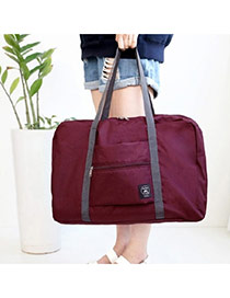Fashion Claret-red Pure Color Decorated Folding Waterproof Hand Bags