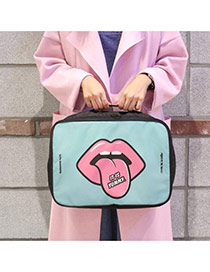 Fashion Mint Green Cartoon Lip&mouth Pattern Decorated Tourism Storage Bag