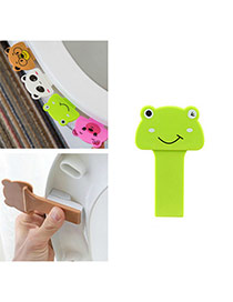 Cute Green Frog Shape Decorated Pure Color Toilet Seat Cover Portable Device