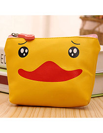 Cute Yellow Cartoon Animal Pattern Decorated Pure Color Coin Purse