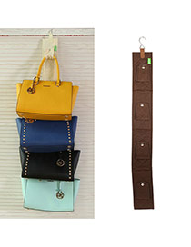 Fashion Coffee Multilayer Button Decorated Pure Color Hang Storage Bag