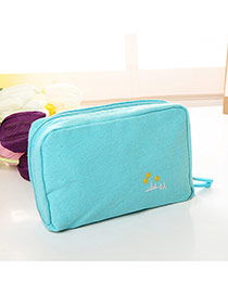 Fashion Blue Embroidery Pattern Decorated Pure Color Cosmetic Bag