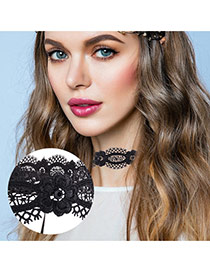 Elegant Black Flower Shape Decorated Hollow Out Lace Chocker