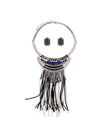 Exaggerated Sapphire Blue Beads Tassel Pendant Decorated Short Chain Jewelry Sets
