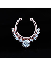 Vintage Rose Gold Diamond Decorated U Shape Simple Nose Ring