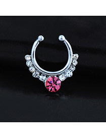Vintage Plum Red Diamond Decorated U Shape Simple Nose Ring