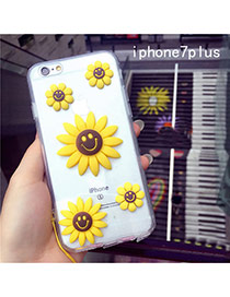 Cute Yellow Sunflower&smiling Face Decorated Transparent Iphone7plus Case