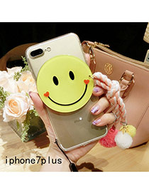 Cute Pink Smiling Face Shape Decorated Transparent Iphone7plus Case