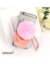 Sweet Pink Fuzzy Ball&bag Shape Decorated Transparent Iphone7 Case