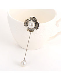 Elegant Silver Color Pearl&flower Shape Decorated Simple Brooch
