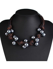 Luxury Gray Ball Shape Weaving Decorated Multilayer Necklace