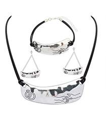 Elegant Silver Color Rings&hands Pattern Decorated Irregular Pendant Necklace
