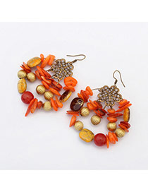 Vintage Orange Multielement Decorated Hollow Out Round Earring