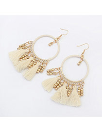 Vintage White Tassel Pendant Decorated Roun Shape Earring