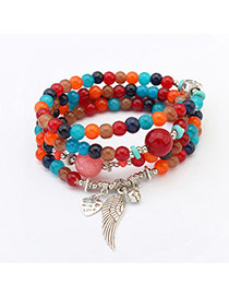 Cute Multi-color Wing Shape Pendant Decorated Multilayer Bracelet