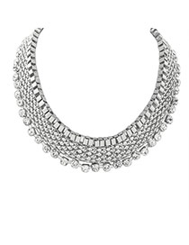 Elegant Silver Color Diamond Decorated Multilayer Collar Necklace
