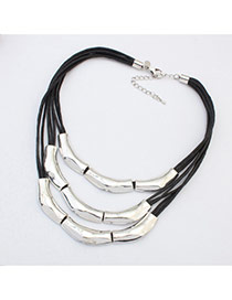 Exaggerate White Bamboo Joint Decorated Multilayer Short Chain Necklace