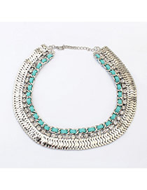 Retro White+light Green Diamond Decorated Short Chain Collar Necklace
