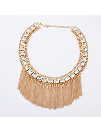 Elegant Gold Color Metal Square Decorated Tassel Short Chain Necklace