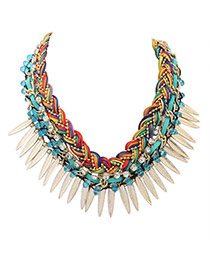 Personality Multi-color Leaf&diamond Decorated Hand-woven Short Chain Necklace