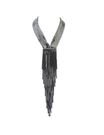 Exaggerate Black Long Tassel Decorated Simple Collar Necklace