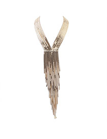 Exaggerate Gold Color Long Tassel Decorated Simple Collar Necklace