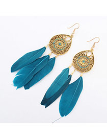 Fashion Blue Hollow Out Waterdrop Decorated Feather Tassel Earring