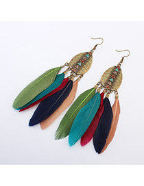 Fashion Multi-color Rivet Decorated Feather Tassel Pendant Earring