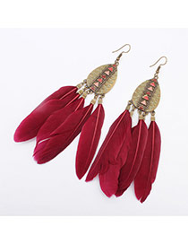 Fashion Red Rivet Decorated Feather Tassel Pendant Earring