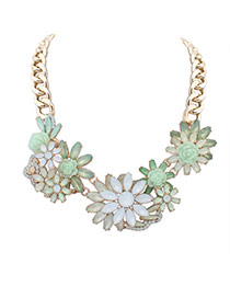 Elegant Light Green Hollow Out Flower Decorated Short Chain Simple Necklace