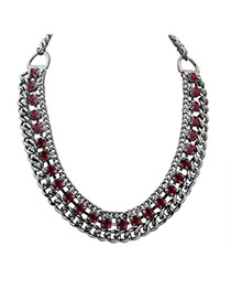 Fashion Red Square Shape Diamond Decorated Hollow Out Chain Necklace