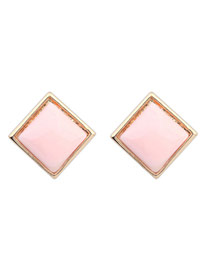 Elegant Pink Pure Color Decorated Square Simple Earrings