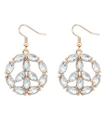 Fashion White Whaterdrop Shape Gemstone Decorated Round Earrings