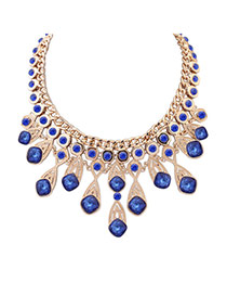 Elegant Blue Round Shape Diamond Decorated Simple Necklace