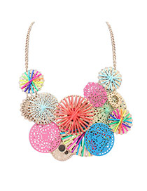 Cute Multi-color Hollow Out Round Shape Weaving Decorated Simple Necklace