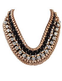 Exaggerated Black Square Diamond Decorated Hand-woven Collar Necklace